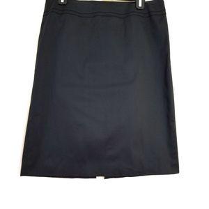 Talbots Size 12 Solid Black Midi Skirt